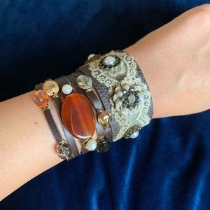 Jewelry - Brown Leather Beaded Lace Cuff Bracelet Bundle